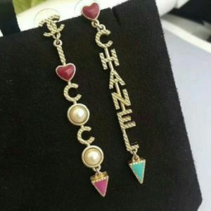 Coco Chanel Tri stop dangle earrings cc